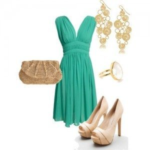 Matching shoes and jewelry with turquoise dress