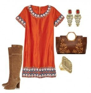 What shoes and jewelry to wear with burnt orange dress